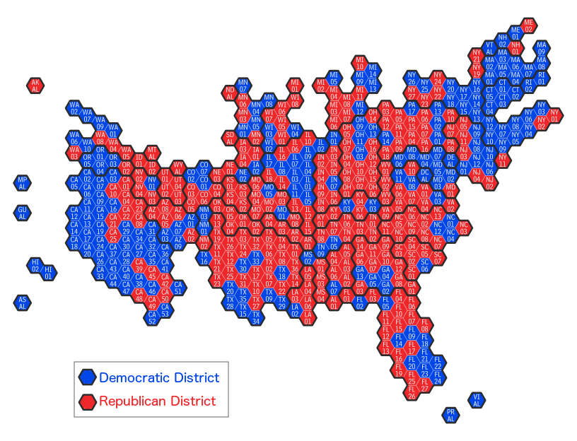 all hex map showing all u s congressional districts and territories by party